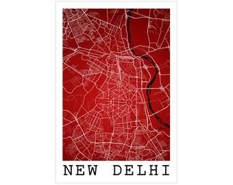 New Delhi Street Map, New Delhi India, Modern Art Print, New Delhi Map, New Delhi Art, New Delhi Decor, New Delhi Poster, New Delhi Gift