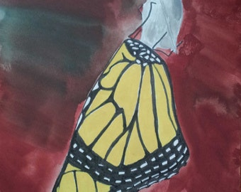 "Butterfly: Original Gouache Painting on Paper 8.5"" x 11"""