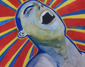 "Man Yelling: Original Gouache Painting on Paper 8.5"" x 11"""