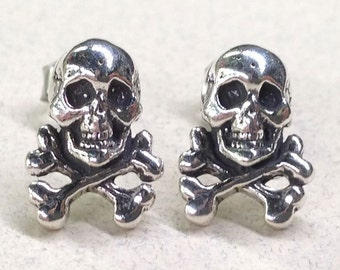Sterling Silver Skull & Crossbone Studs ( New Lower Price )