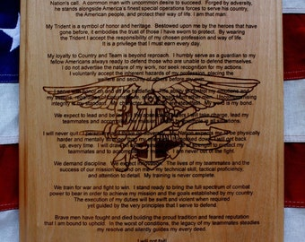 Personalized U.S. Navy Seal Creed Plaque, solid wood 10.5 x 13 inches, 3 lines of text, Graduation Gift Naval Special Warfare, BUD/S Gift