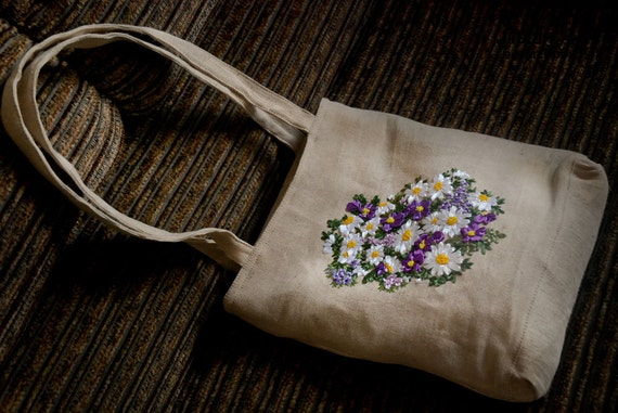 Silk ribbon embroidered tote bag the by ukrainianartpoint