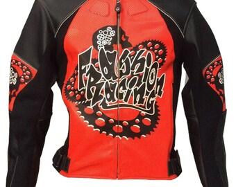 SteamPunk leather jacket, leather motorbike jacket, leather motorcycle jacket made to measure Fashion Racing