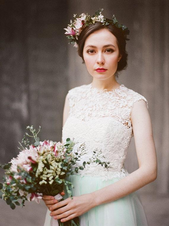 Vesta // Three piece wedding dress - Bridal separates - Mint colour wedding dress - Tulle wedding gown - Lace wedding dress