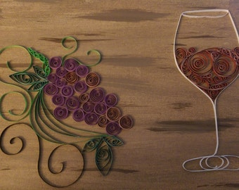 wine quilling wall art