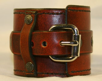 Cool Brown Leather Wrist Cuff - ADAMO