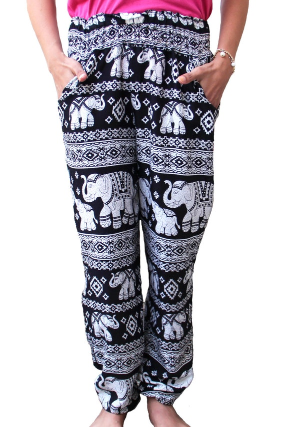 Double Stitched Harem Womens Elephant Slim Pants Boho Harem Black Rayon Hippie Yoga Pants