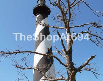 "Hatteras Lighthouse Photo - Cape Hatteras Lighthouse - Lighthouse Photo - Instant Download - ""A Light Through The Trees"""
