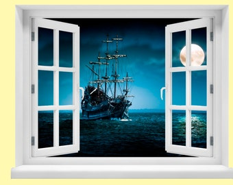 Window with a View Pirate Ship Wall Mural