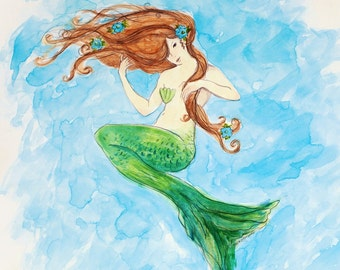 Mermaid greeting card , MERMAID ART, woman, beach art, nautical, coastal, shabby chic, mermaid from original watercolor by Tina O'Brien