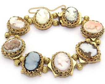 14k Yellow Gold Carved Multi Stone Cameo Slide Bracelet 7.5 inch
