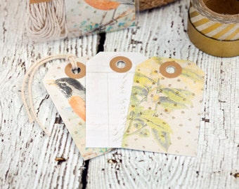 ON SALE...Set of 12 tags, bird, vintage tags, kraft tags, gift tags, paper goods, robin, plant, gray, spring