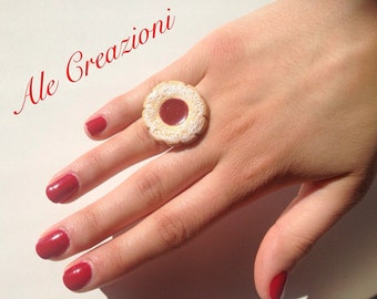Cookie ring with jam in fimo