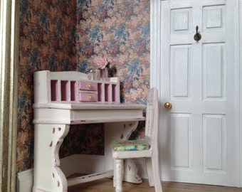 1/12th scale Miniature Shabby Chic Lady's Desk and Chair