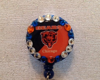 Nfl Chicago Bears Badge Id Reel with Alligator Clip - New