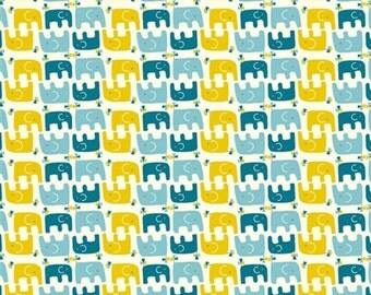 Organic Cotton Fabric in Ellie Stagger Boy from the Frolic Collection by Birch Fabrics  - UK Seller *Sold by the METRE*
