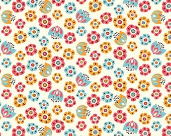 Organic Cotton Fabric in Tulip Toss from the Frolic Collection by Birch Fabrics  - UK Seller -