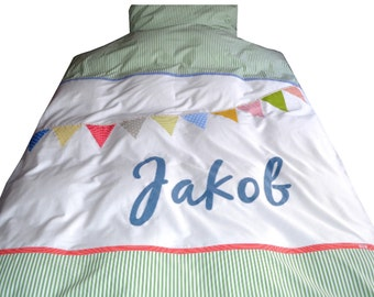 Baptism or baby shower gift: Children's bedding with name and bunting garland patch