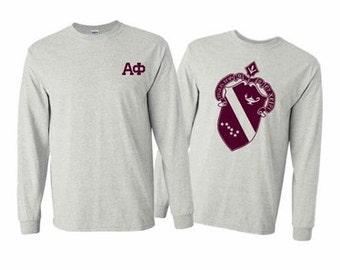 Alpha Phi World Famous Crest Long Sleeve T-Shirt - Maroon Print