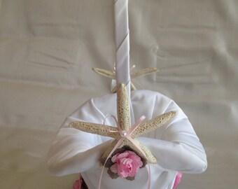 Flower Girl Basket/ starfish & pink rose