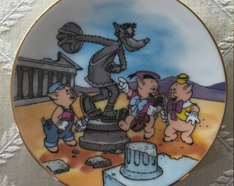 Miniature Disney Three Little Pigs Plate -- Greece