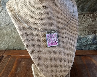 Brussels 1966 Silver, Purple and Black Postage Stamp Necklace