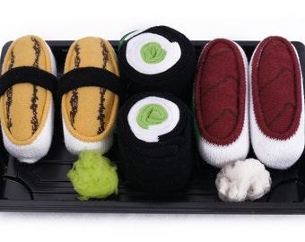 Sushi Socks Box 3 pairs Tuna Tamago Cucumber Maki Cool Gift Present Gadget