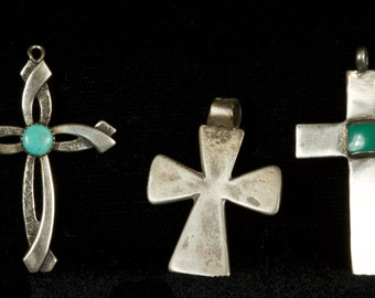 3 Small Sterling Crosses, 2 with Turquoise stones