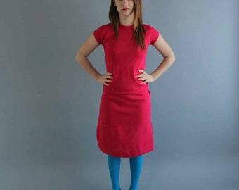 SALE hot pink sweater set . 1960s skirt set . wool skirt set with shell and cardigan . womens small . pink wool skirt 3 piece set Hong Kong
