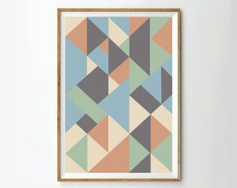 Abstract poster, Abstract Print, mid century poster, Mid century art Print, retro poster, Retro art print,  geometric prints posters