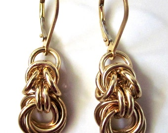 14K Gold Filled Byzantine Love Knot Chainmaille Earrings