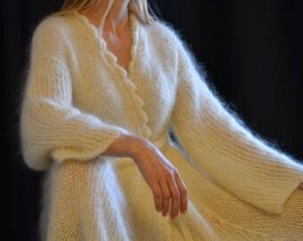 ORDER handmade mohair shrug fuzzy mohair hand knitted robe cream mohair shrug one size summer shrug mohair coat open front plus size robe