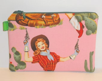 Padded Zippered Pouch (Pin Up Cowgirls) / Pink Cosmetic Bag / Coin Purse / Small Clutch / Card Holder / Wallet -- Other Colors Available