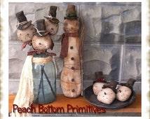 ePattern~Primitive Let it Snow, Man Doll, Bowl Fillers, Ornies Crock Fillers Sewing Pattern PDF
