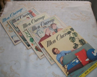set x 5 French Magazine 1955 MON OUVRAGE Knitted Embroidery Crochet Fashion Home 'B'