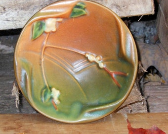 Roseville Pottery Ashtray Pin Dish Snowberry Brown Green White Vintage China USA 1940s Home Decor