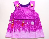 Little Girl Pinafore Dress - The Ethel Dress (Violet Fireflies)