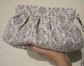 BRIDESMAID CLUTCH Janbag Wristlet wedding clutch bridal spring wedding gifts handmade - Damask grey