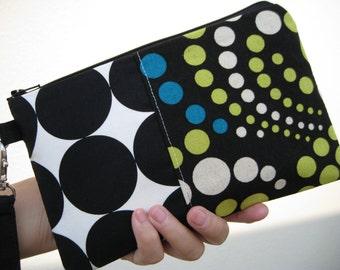 SALE, Gift pouch 2 pockets , black, dots, cotton,wristlet, gift- - dots dots dots