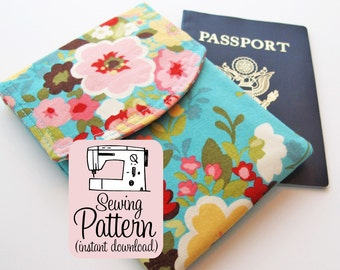 Passport Pouch PDF Sewing Pattern | Sew a two pocket passport wallet that will hold up to 3 passports.