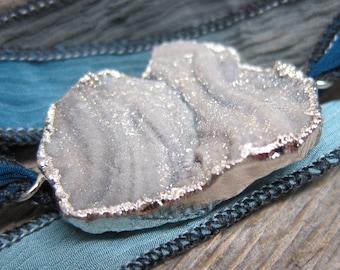 Frost-Limned silk wrap bracelet  ... antiqued silver galaxy stone druzy