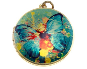 Photo Locket, Image Locket, Art Locket, Picture Locket, Brass Locket - Painted Butterfly