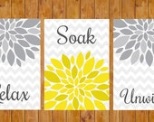 Instant Download Flower Burst Gray Yellow Wall Decor Spa Bathroom Relax Soak Unwind Set of 3- 5x7 JPG files DIY Printable  (97)