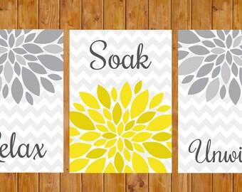 Ordinaire Flower Burst Gray Yellow Wall Decor Spa Bathroom Relax Soak Unwind Set Of 3  Printable Digital