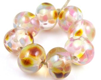 Pink Pretties - Handmade Artisan Lampwork Glass Beads 8mmx12mm - Pink, Pastels, Gold - SRA (Set of 8 Beads)