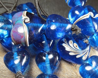 Ocean hearts, lampwork bead sets and trios made to order
