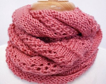 Knit Infinity Scarf - Hand Knit Scarf - Coral Pink - Ready to Ship