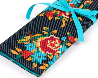 Large Knitting Needle Case - Blue Twill Bouquet - 30 blue pockets for straights, circulars, dpns and notions