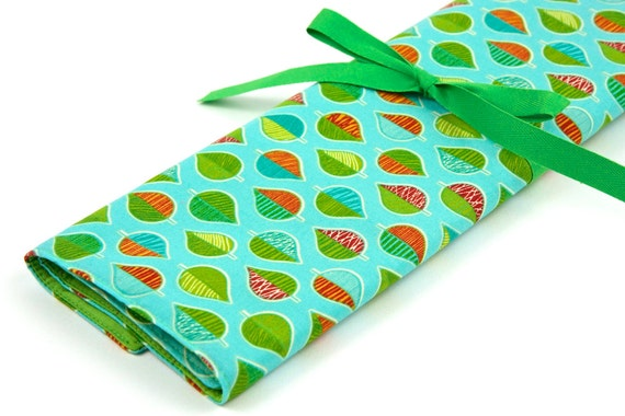 Knitting Needle Case - Mother Earth - IN STOCK Large Organizer 30 lime green pockets for straights, circulars, dpns and notions