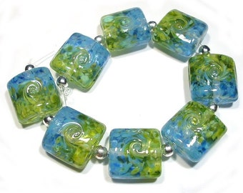Glass Lampwork Beads Handmade  Land to Sky Nuggets